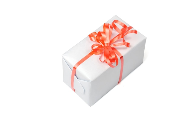 Gift in een grijze doos geïsoleerd op een witte achtergrond.