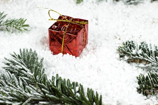 Gift in rode verpakking en dennentakken op sneeuw