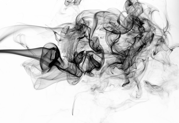 Giftige bewegingssamenvatting op witte achtergrond, zwarte rook op wit