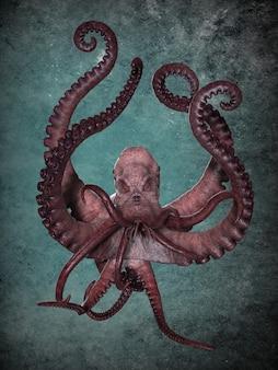 Gigantische oceaanoctopus. 3d illustratief