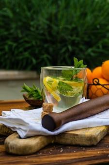 Gin-tonic cocktail met citroen en munt
