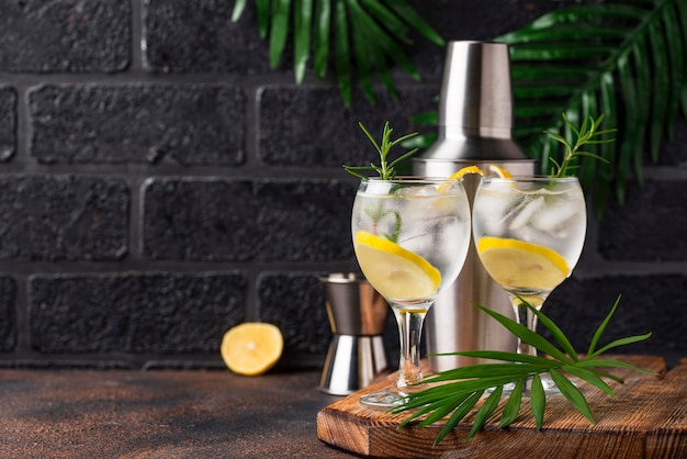 Gin tonic cocktail met citroen
