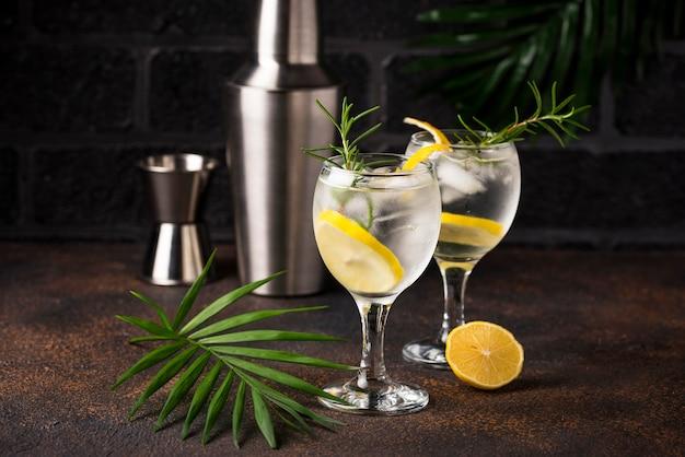 Gin tonic cocktail met citroen