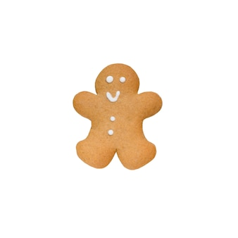 Gingerbread man geïsoleerd op witte achtergrond