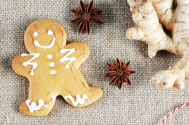 Gingerbread man met het symbool van de kerst met gember en anijs