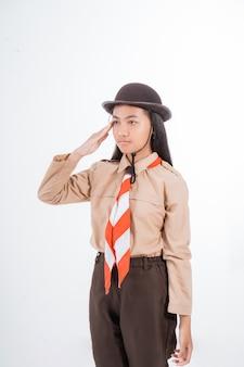 Girl scout salute gebaar geven