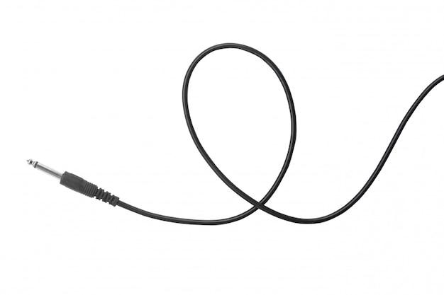 Gitaar audiohefboom met zwarte die kabel op wit wordt geïsoleerd