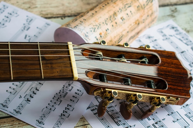 Gitaar en muziek, gitaar en muziekblad, instrument, gitaar en muzieknoten