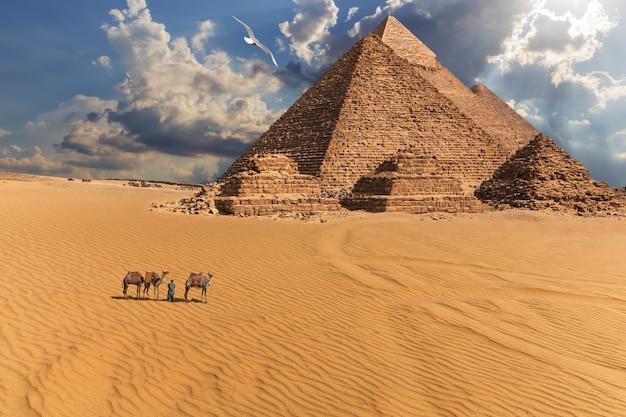 Giza piramides en kamelen in de woestijn onder de wolken, egypte.