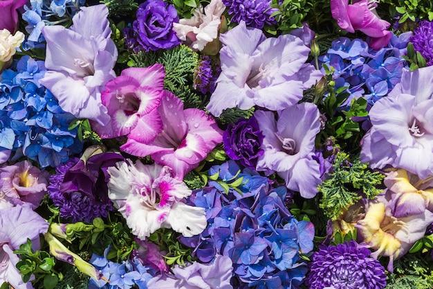 Gladiolen bloemen achtergrond. bovenaanzicht