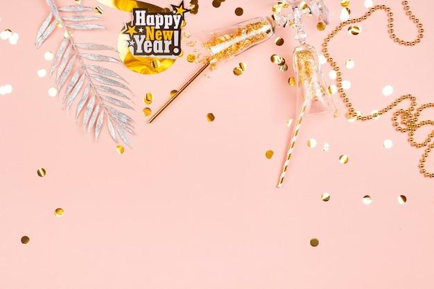 Glamoureuze roze gelukkig nieuwjaar achtergrond