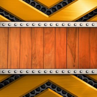 Glanzend metaal met houten patroonachtergrond voor malplaatje