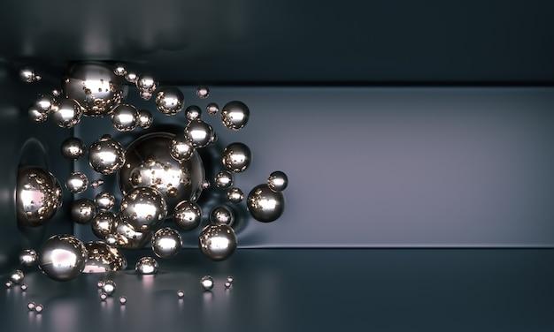 Glanzend metalen ballen vliegen in de lucht
