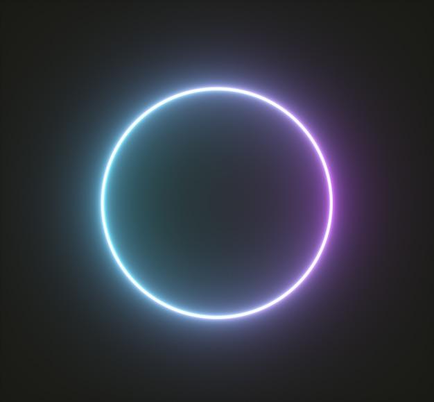 Glanzend neon cirkelframe, lichte geometrische vormen. 3d render
