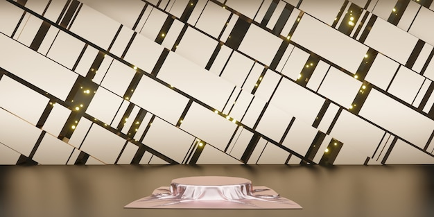 Glanzend satijn elegant geplaatst op een podium of lege podiumplank luxe concept galerijachtergrond