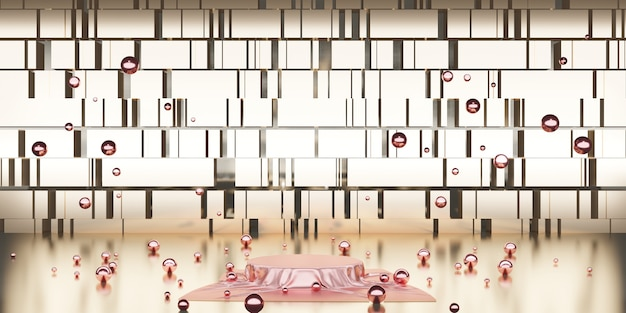 Glanzend satijn elegant geplaatst op lege plint plank luxe concept galerij achtergrond product