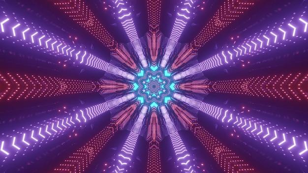 Glanzende 3d illustratie abstracte visuele achtergrond met symmetrische kleurrijke neonstralen vormen circulaire patroon voor futuristische sci fi conceptontwerpen