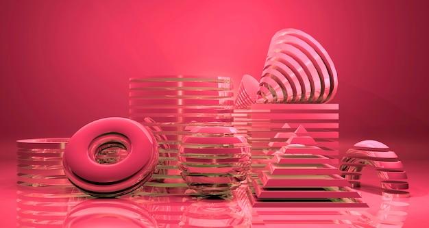 Glanzende abstracte geometrische bannerachtergrond. 3d-weergave.