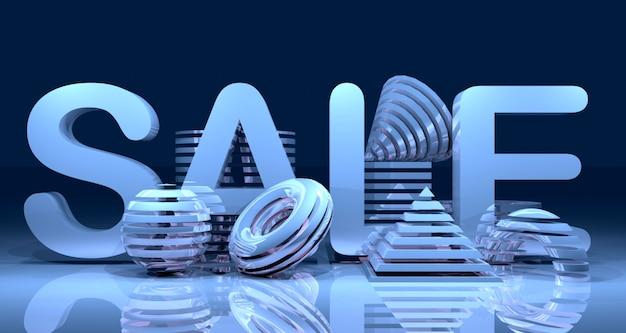 Glanzende abstracte geometrische verkoop banner achtergrond. 3d-weergave.