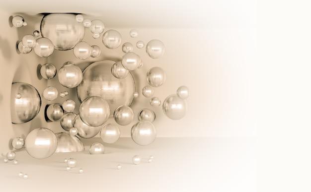 Glanzende ballen vliegen in de lucht als een parel