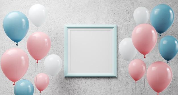 Glanzende ballonnen en blauw frame