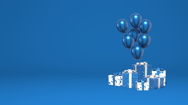 Glanzende ballonnen en een heleboel geschenkdozen. decoratie vakantie, presentatie, promotie. stijlvolle minimale abstracte scène. trendy klassieke blauwe kleur. 3d-weergave