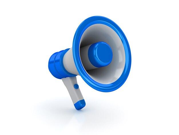 Glanzende megafoon geïsoleerd op wit