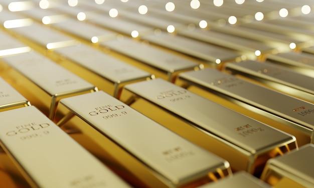 Glanzende pure goudstaven op een rij achtergrond. rijkdom en economisch concept