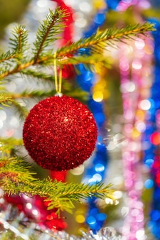 Glanzende rode kerstbal die aan de tak van de pijnboomboom hangt. close-up van vakantieornament voor gelukkig nieuwjaar. selectieve zachte focus op de voorgrond, kleurrijke wazige zeepbel bokeh op de achtergrond.