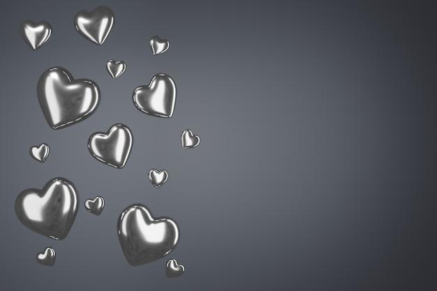 Glanzende zilveren harten op een grijze pastelachtergrond.