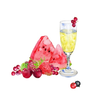 Glas campagne met watermeloen en bessen