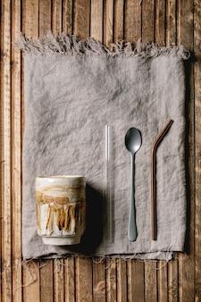 Glas en stro voor smoothie