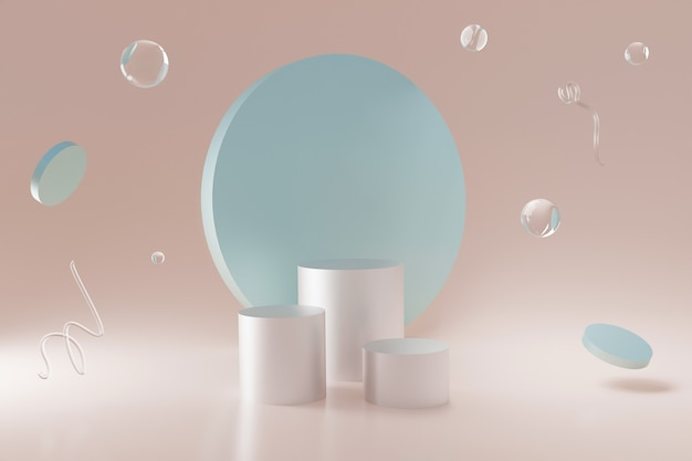 Glas geometrische vormen zwevend