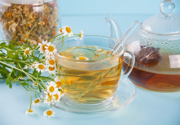 Glas gezonde kruidencamomille thee. natuurgeneeskunde.