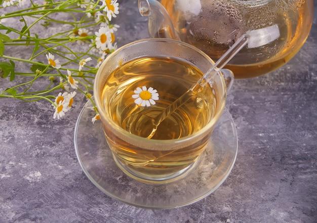 Glas gezonde kruidencamomille thee.