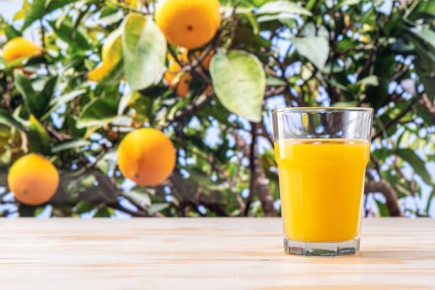 Glas jus d'orange op aard.