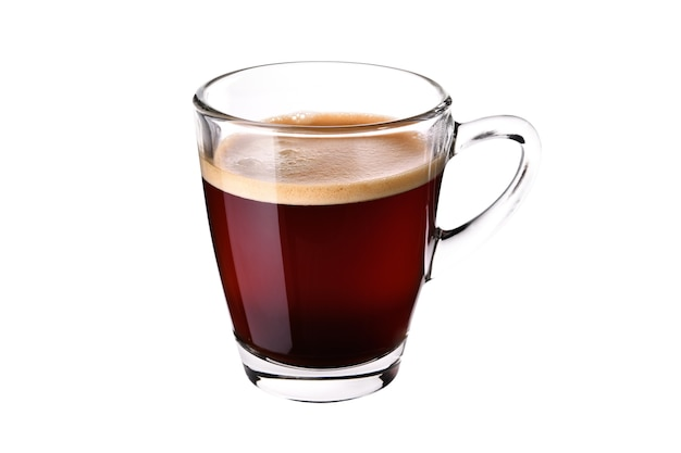 Glas kopje espresso koffie geïsoleerd op een witte achtergrond
