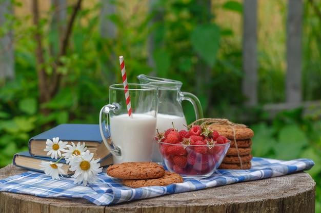 Glas melk en kom van verse bessen in een buitenomgeving