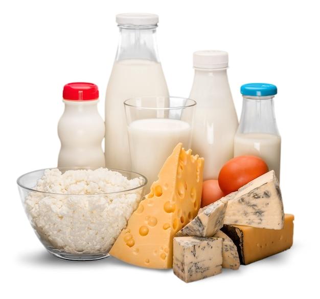 Glas melk en zuivelproducten