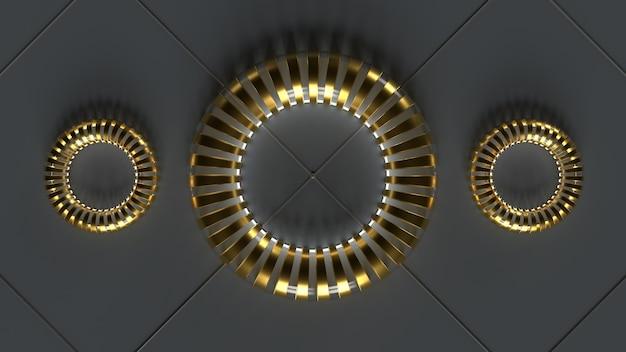 Glas metalen ringen op grijze vloer 3d render