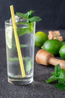 Glas mojitococktail met ingrediënten op donker