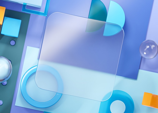 Glas sjabloon mockup geometrie vormen abstracte compositie kunst blauw 3d-rendering