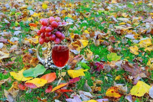 Glas witte wijn met herfstbladeren tegen