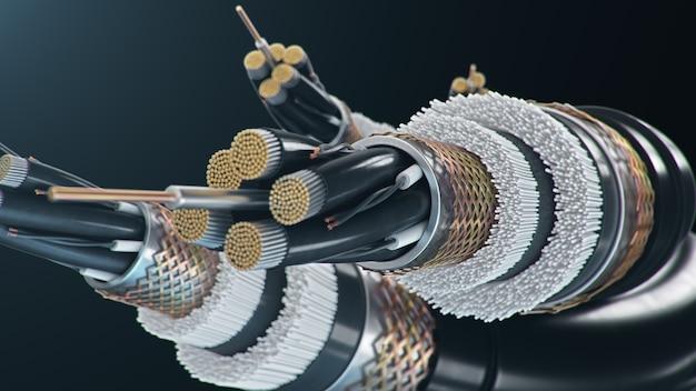 Glasvezelkabel op een gekleurde achtergrond. toekomstige kabeltechnologie. gedetailleerde kabeldoorsnede