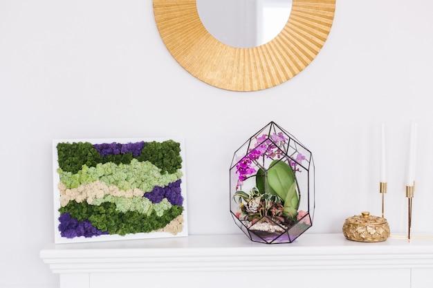 Glasvorm voor planten, stenen, zand, aarde en vlinders, interieurdecoratie, comfort creëren thuis, schoonheid, handgemaakte creatie, mos, spiegel