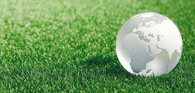 Glazen bol of aarde in groen gras met eco-concept met copyspace, 3d-rendering illustratie