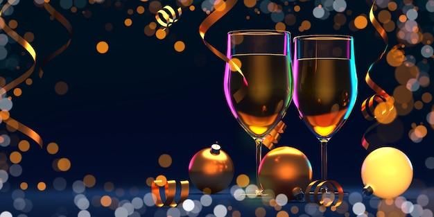 Glazen champagne en lichten op glanzende donkere exemplaar ruimteachtergrond