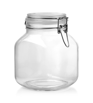 Glazen fles geïsoleerd op wit met uitknippad