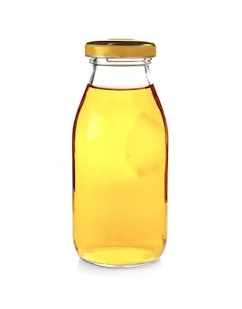 Glazen fles met appelsap