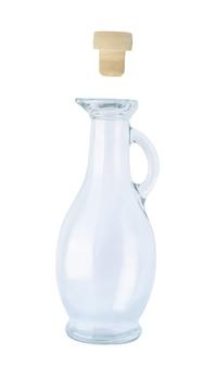 Glazen fles met handvat en kurk geïsoleerd. lege vintage container met reflectie voor olie, dranken en andere vloeistoffen